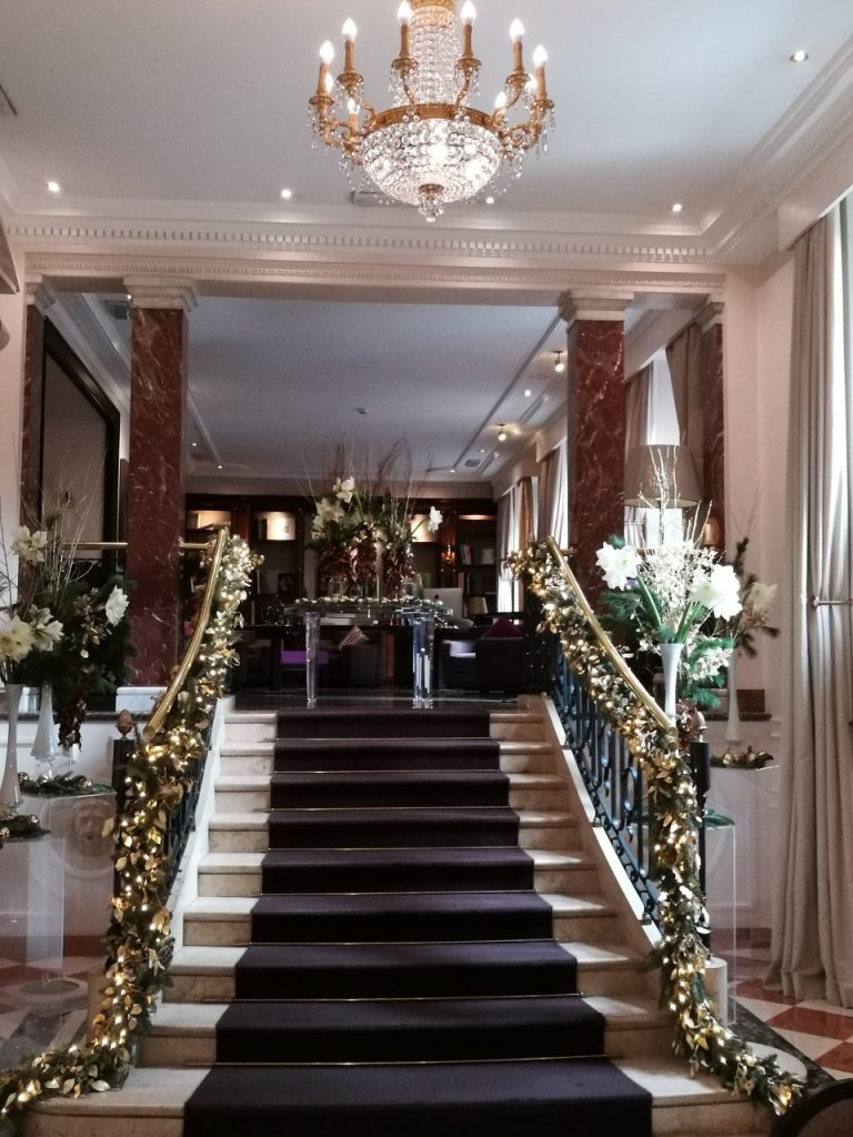 staircase into the hotel lobby